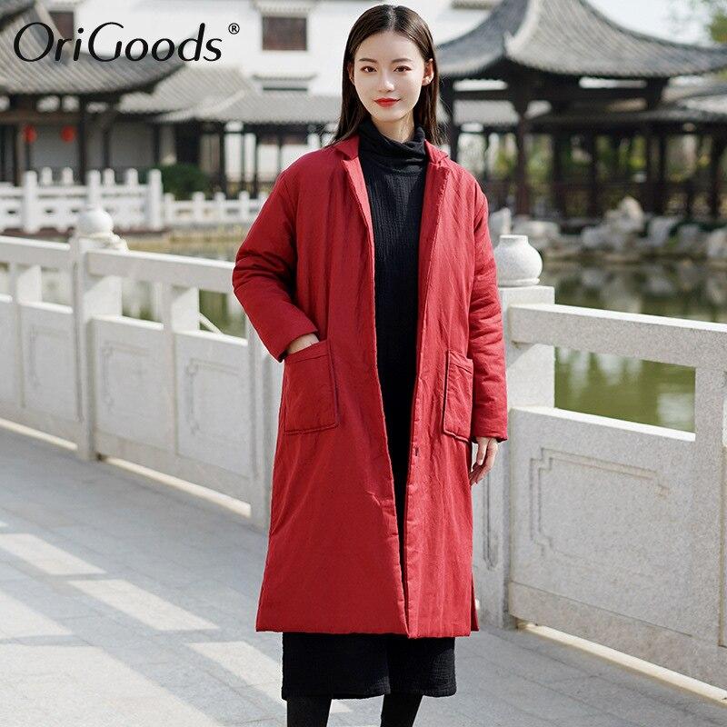 Origods abrigo largo de invierno para mujer acolchado grueso cálido largo invierno chaquetas abrigos sólido rojo negro Original largo abrigo femenino C296