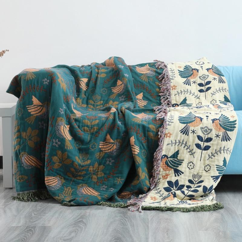 Junwell 100% القطن الشاش غطاء أريكة بطانية الصيف الشاش السرير شيك شرابة متعددة الوظائف السفر تنفس رمي بطانية