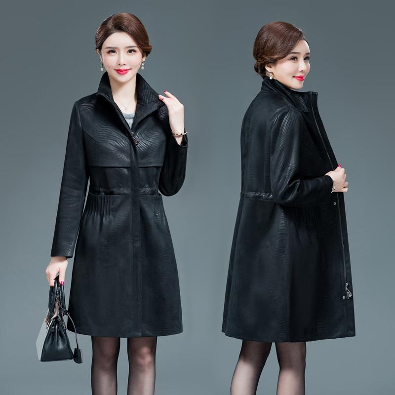 Women Black Faux Leather Jacket XL-6XL Middle-aged Ladies Retro Loose Faux Sheepskin Trench Long Coat Large Size Female Clothing enlarge