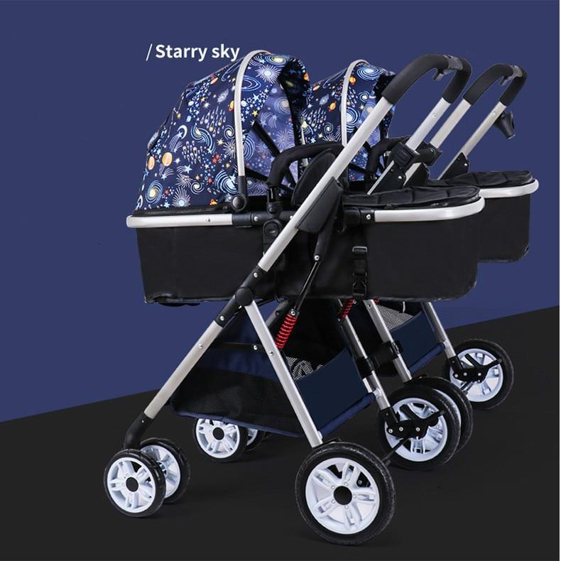 عربة أطفال توأم 3 في 1 قابلة للفصل ذات المناظر الطبيعية العالية خفيفة الوزن قابلة للطي وممتص للصدمات مزدوج وسلة نوم للأطفال