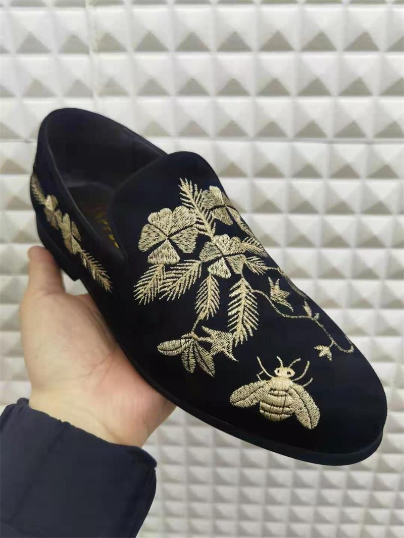 2021 New Men's Shoes Fashion Casual Business High-end Black Suede Beautifully Embroidered Low-heel Comfortable Loafers 3KC199