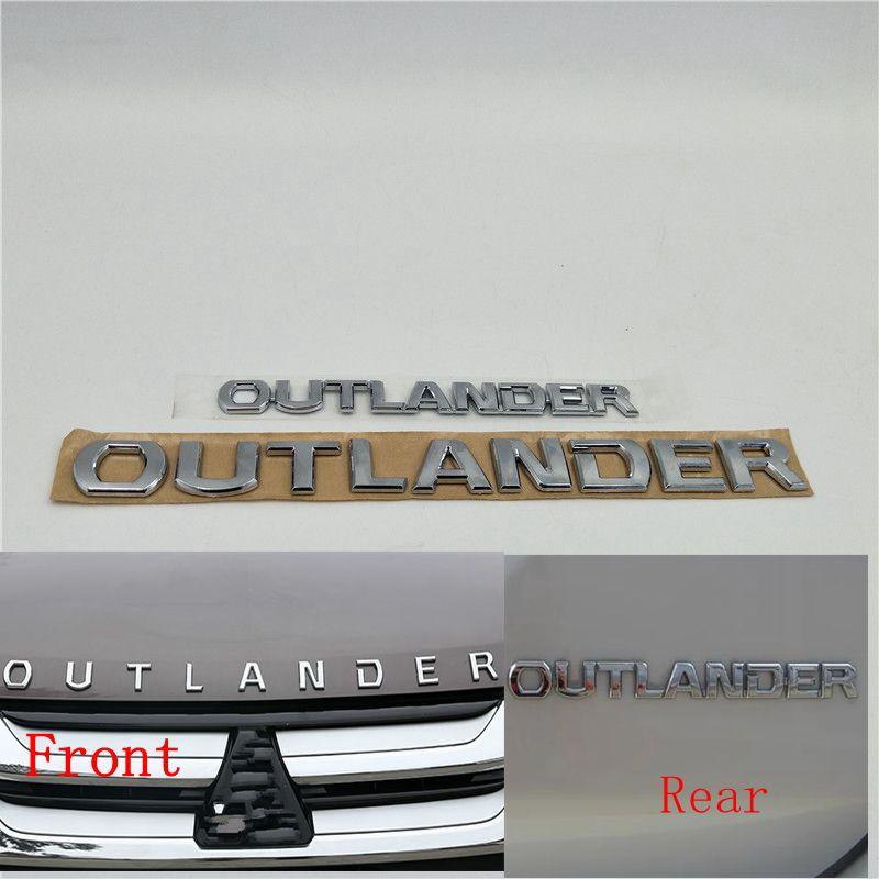 Para Mitsubishi Outlander Bonnet delantero emblema parte trasera del maletero puerta trasera Logo vinilo con símbolos
