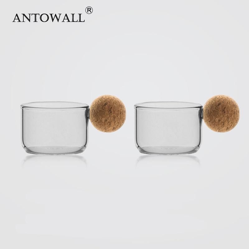 ANTOWALL 2 قطعة الزجاج كوب الشمال تصميم اليدوية المنزلية القهوة كوب صغير فناجين 80 مللي الزجاج
