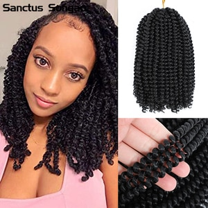 Santus Songao Spring Twist Hair 8 Inches Synthetic Crochet Braids Fluffy Twist for Black Women Braiding Hair Extensions 110±5g