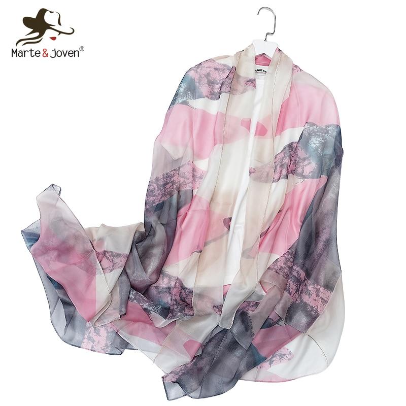 Marte & Joven moda triangular estampado fino primavera gasa bufanda mujer Oversize 180x110cm verano playa cubrir pashmina rosa