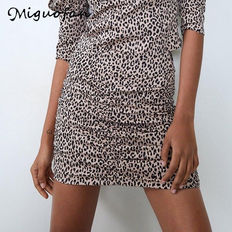 Minifaldas de leopardo para mujer de guofan, moda ajustada, ceñida, falda elegante drapeada para oficina, faldas femeninas, ropa de calle, primavera za