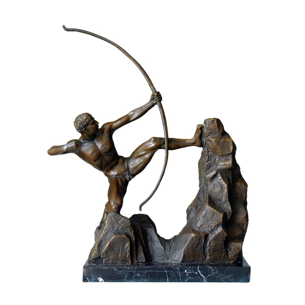 Grande Heracles dibujo un arco estatua escultura bronce griego Hércules Dios Vintage obra de arte decoración de oficina hombre desnudo figurita
