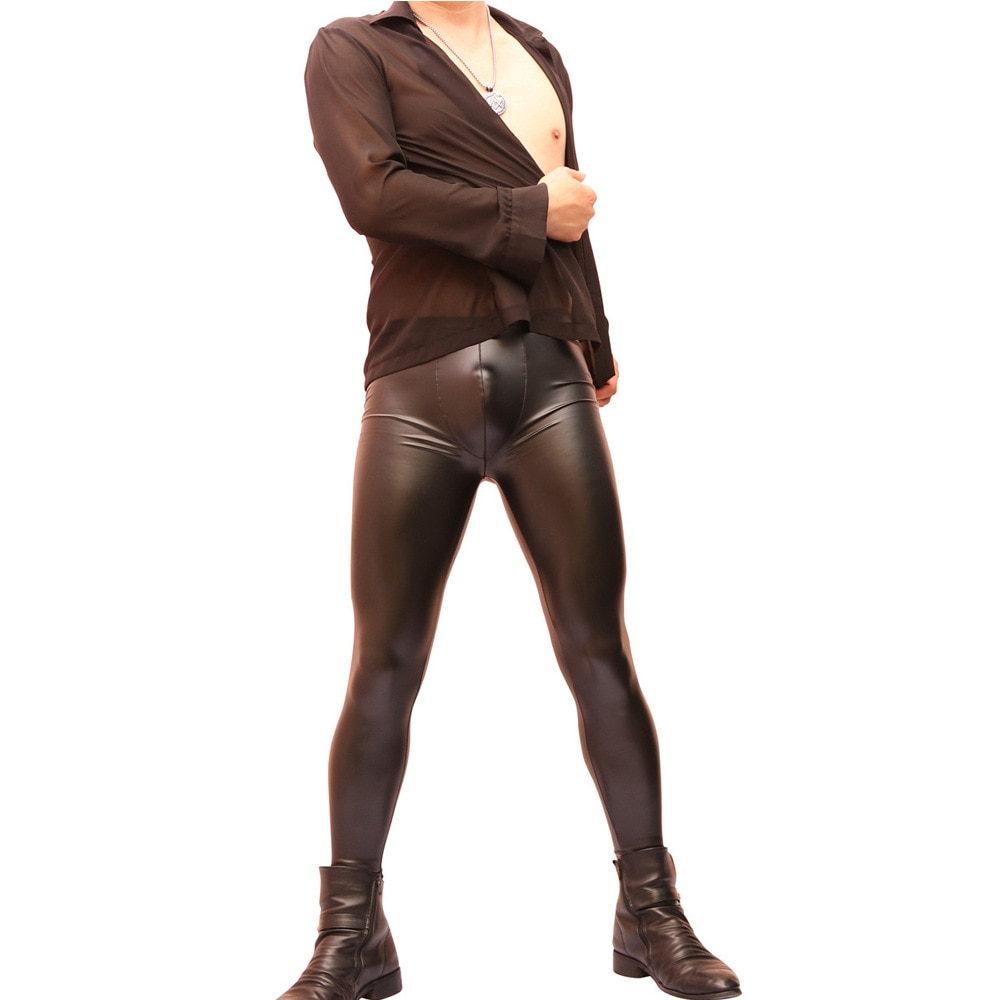 Sexy Men's Tight Leather Pants Stage Dance Wear Pencil Pants Skinny Fashion Casual Leggings Convex S