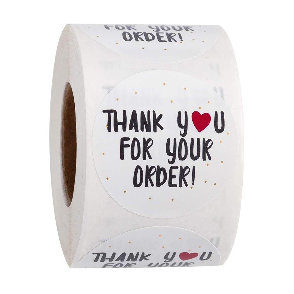 500 pces/rolo redondo obrigado por seu pedido etiquetas do selo da compra etiquetas da loja obrigado decorativo você artigos de papelaria da etiqueta