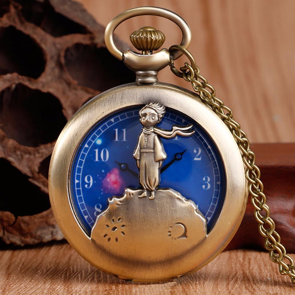 Hot Selling Classic The Little Prince Movie Planet Blue Bronze Vintage Quartz Pocket FOB Watch Popular Gifts for Boys Girls Kids the hot selling 2018 men s quartz movement classic business style the only designated choice