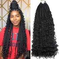 synthetic crochet hair ombre box braids hair pre stretched natural curly ends 20 bohemian braiding hair extension