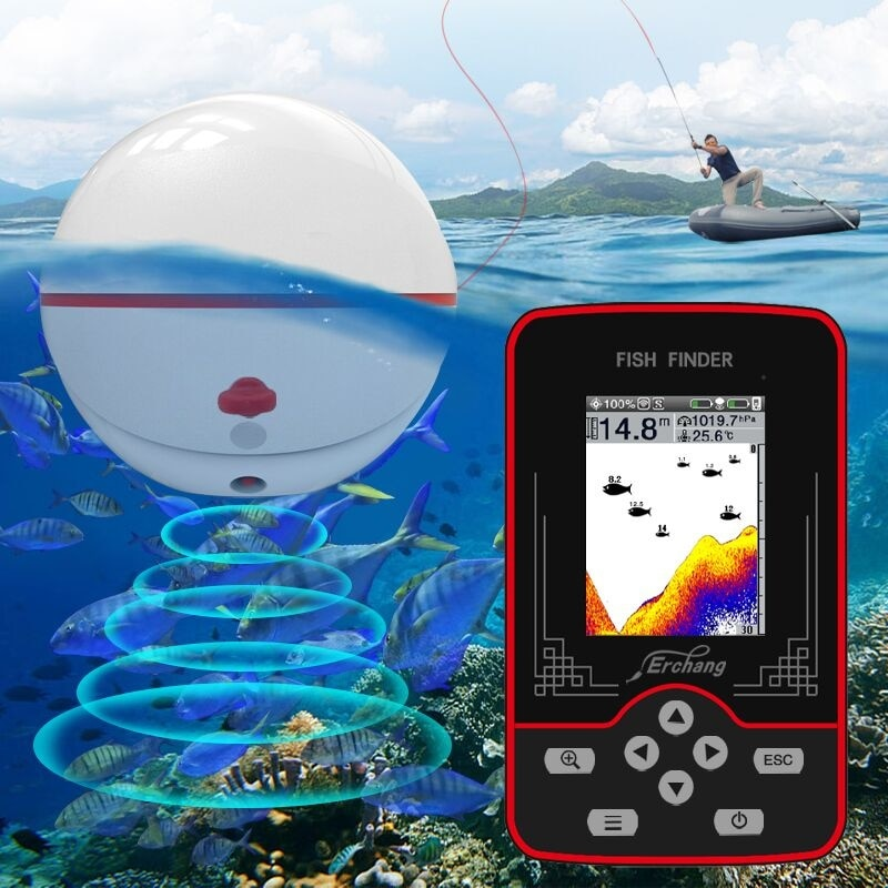 Erchang - portable wireless sonar for carp fishing, 2.8 inch color LCD, echo sounder, 60m, air pressure and water depth