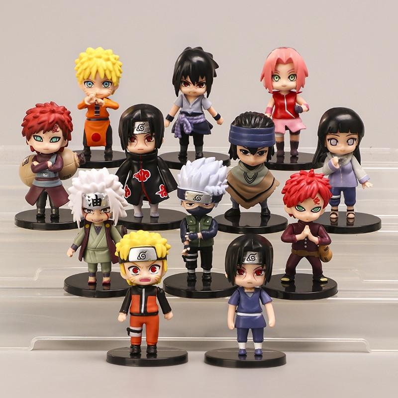 12pcs/set Naruto AnimeShippuden Hinata Sasuke Itachi Kakashi Gaara Jiraiya Sakura Q Version PVC Figures Toys Dolls Kid Gift