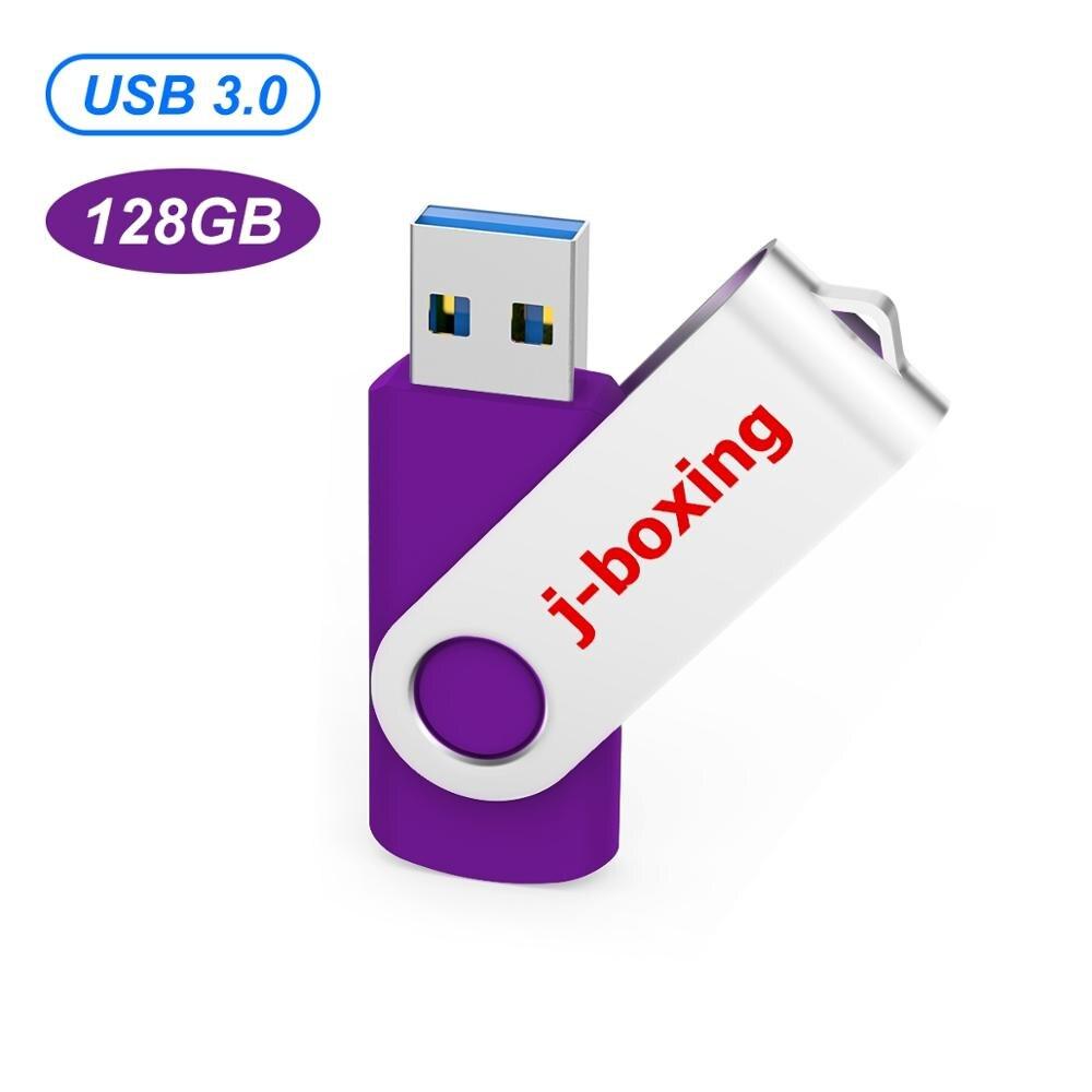 J-boxing 128GB USB 3.0 Flash 100MB/s Read, 30MB/s Write, High Speed флешка usb Metal Rotating pendrive Zip Drive External Drive