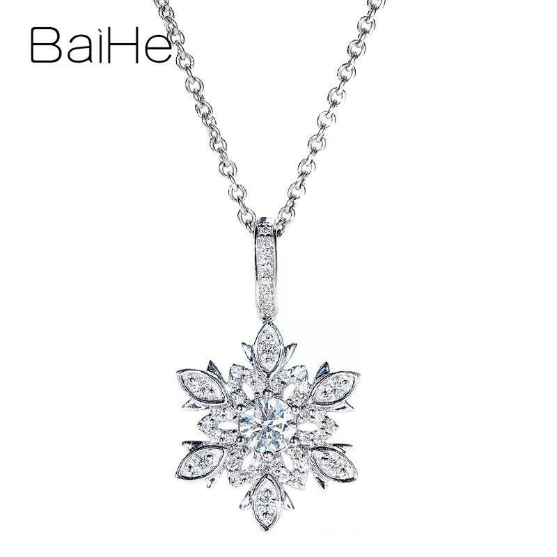BAIHE oro blanco sólido de 14K 0.42ct H/SI diamantes naturales redondos de moda joyería fina de boda hermoso diamante copo de nieve colgante