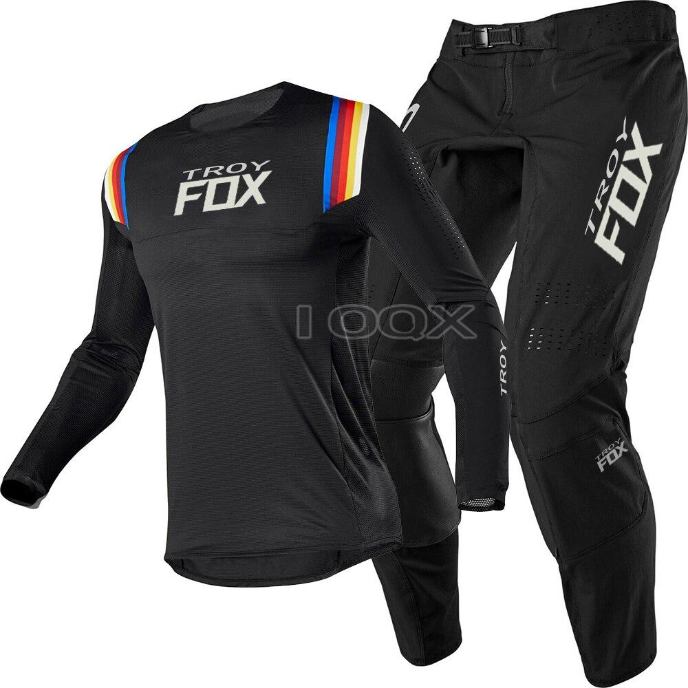 2020 دراجة نارية سباق فليكس الهواء MX ATV الترابية دراجة سباق جيرسي بانت كومبو معدات الدرجات النارية مجموعة الشارع موتو الأسود مجموعة