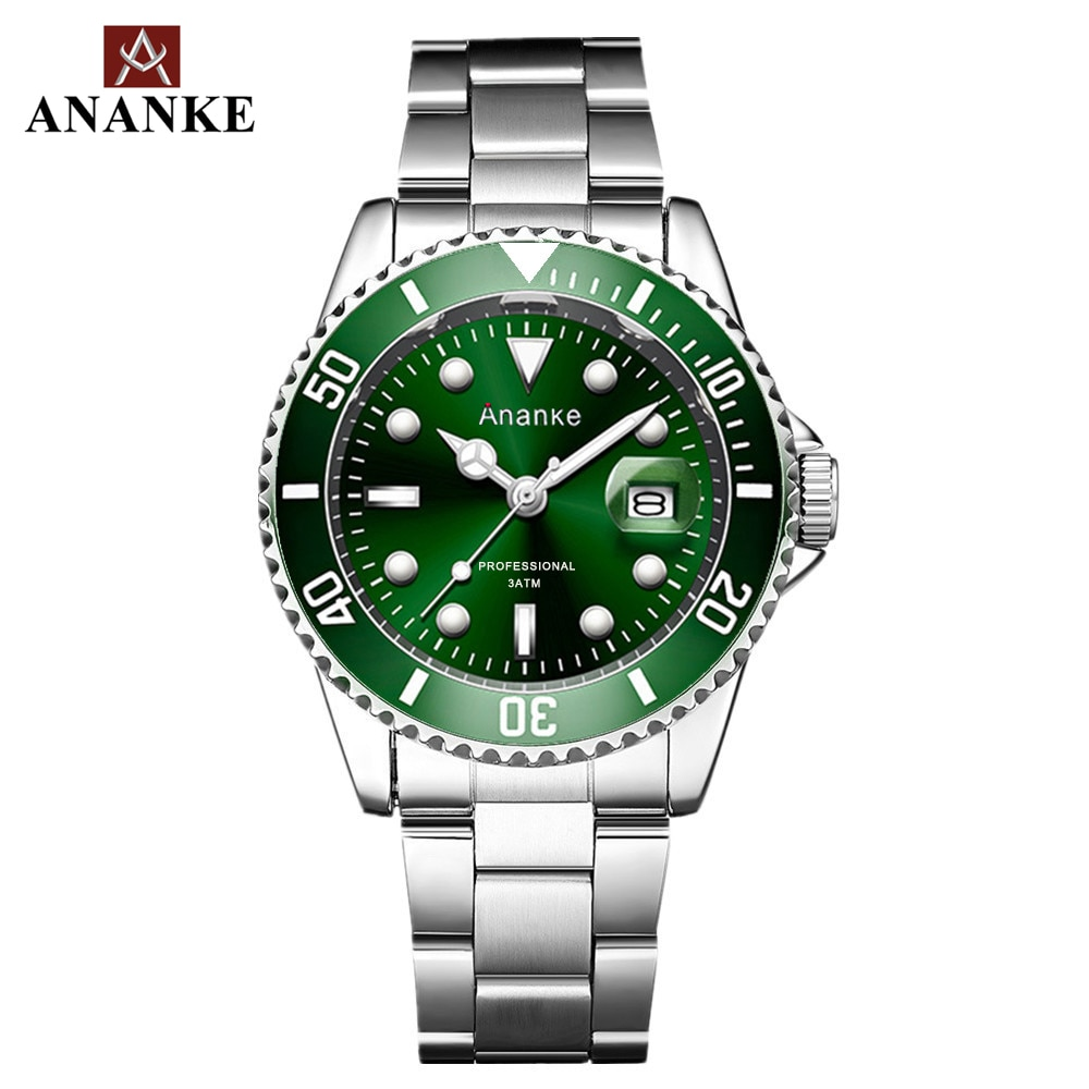 ANANKE Mens Watches Classic Quartz Stainless Steel Strap Luminous Top Brand Luxury Waterproof Resistant WristWatches AN17