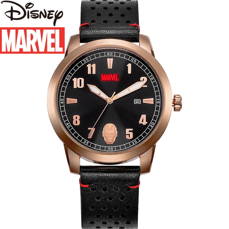 Disney Marvel Watch Iron Man Men's Quartz New Belt Casual Trend Personalized Waterproof Wrist Watch