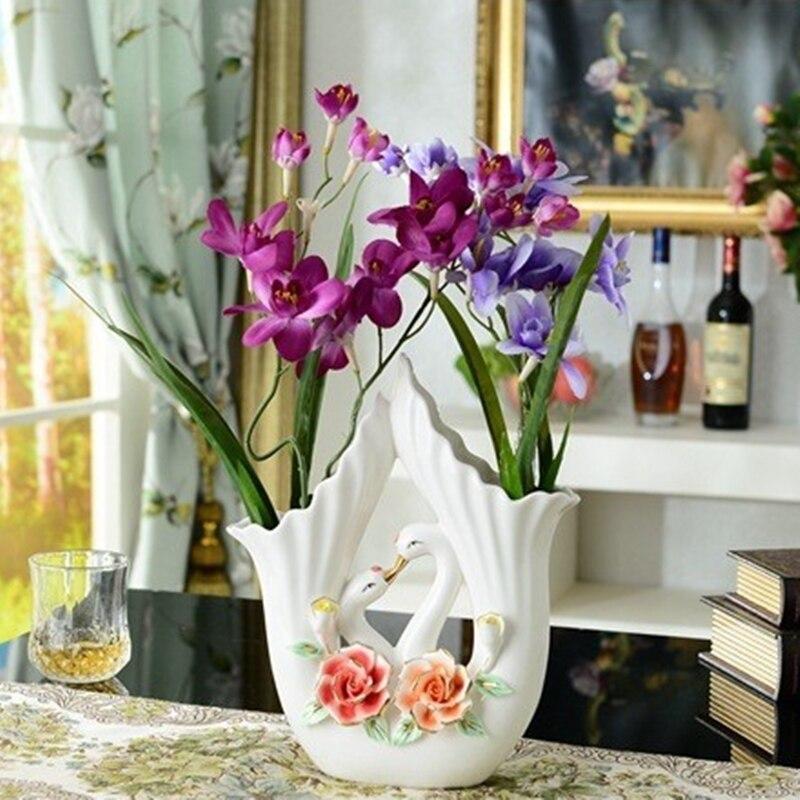 Florero de cerámica moderno, ornamentos decorativos para el hogar, jarrón de cisne de flores de Color a mano, regalos de boda, celebración de cumpleaños
