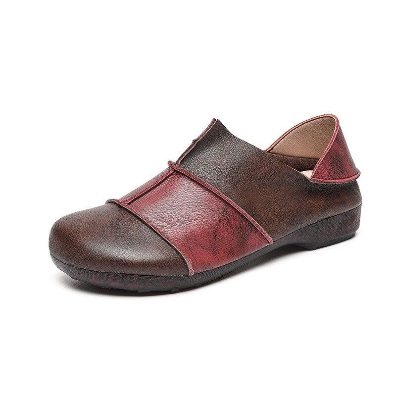جديد ريترو لينة وحيد ولينة أحذية من الجلد العلوي
