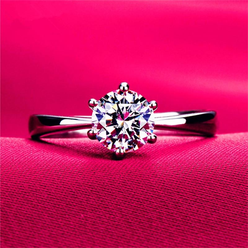 Anillos De Compromiso clásicos de seis garras de 1 quilate con circonita AAA para mujer, joyería de Color plateado, anillos de compromiso para mujer, regalo de acero inoxidable