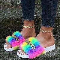 2021 sandal women chain furry slides kawaii slippers faux fur flurry slides glitter bling rainbow shoes cute plush jelly