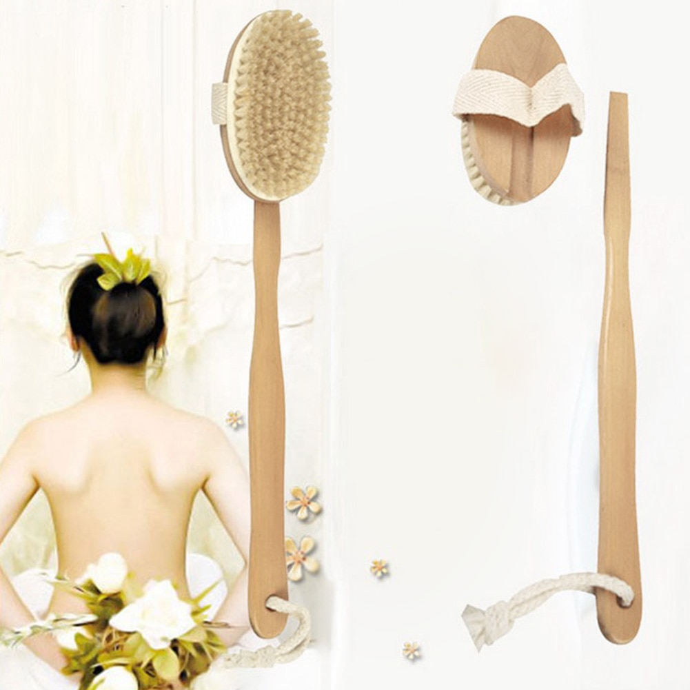 Натуральная Длинная Деревянная щетинная щетка для тела, массажер для ванны, душа, Спа скруббер, высококлассная плотность, средство для очис...