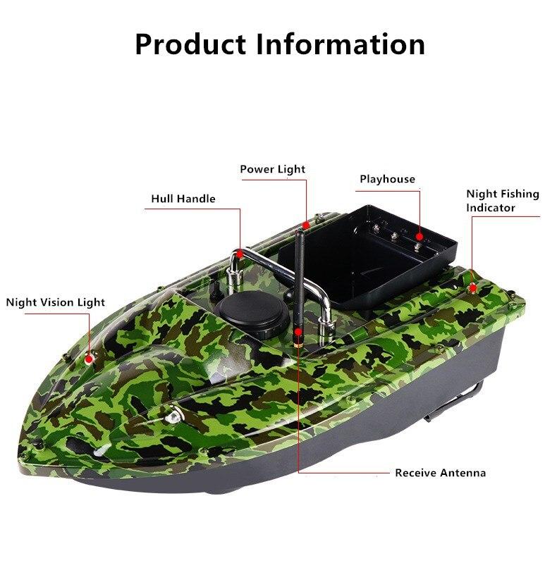 500M Camo Wireless RC Fishing Bait Boat 2 Motors Fish Finder  Single Hand Control Hook Post Speedboat for Carp Fishing+ Handbag enlarge