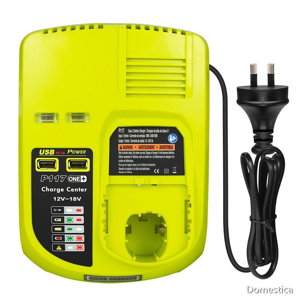 Cargador P117 para batería de iones de litio de 12V-18V, enchufe europeo/estadounidense/australiano para Ryobi, 12V-18V, ni-cd, Ni-MH, para Ryobi ONE + Plus, P108