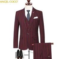 mens wedding suits groom striped slim fit groomsmen party prom dress tuxedo singers costume business jacket blazer pants 3piece