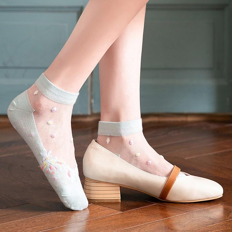 Hyrax Trends Creative Harajuku New Product Crystal Silk Tide Socks Funny Flowers Happy Women Socks C