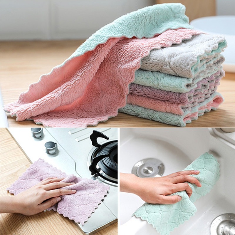 10/20pc Super Absorbent Microfiber kitchen dish Cloth High-efficiency tableware Household Cleaning Towel kitchen  tools gadgets недорого