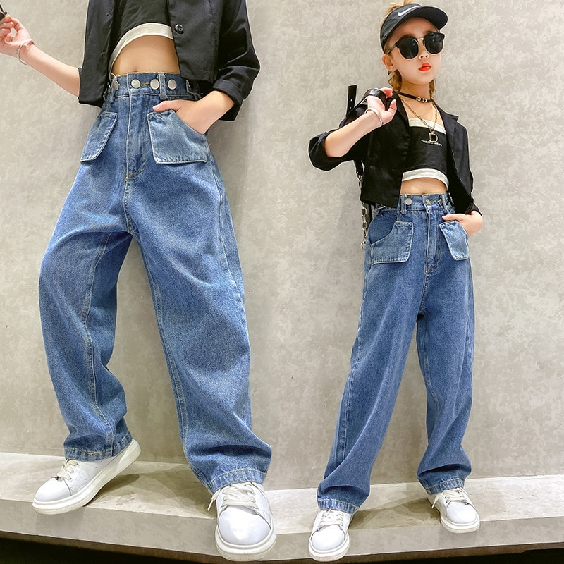 Джинсы для девочек подростков осенние детские джинсовые штаны повседневные джинсы для девочек детские штаны с эластичной резинкой на талии для детей 6, 8, 10, 12, 14 лет Джинсы    АлиЭкспресс
