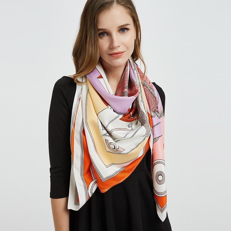 Summer new scarf ladies knight clothes twill soft silk scarf 130cm*130 vacation travel sun protection warm ladies shawl scarf