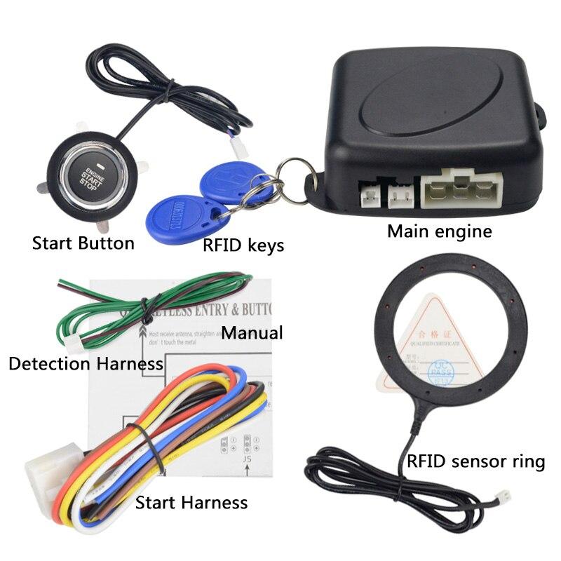 12V Auto Car Alarm One Start Stop Button Engine Push Button RFID Lock Ignition Switch Keyless Entry Starter Antitheft System