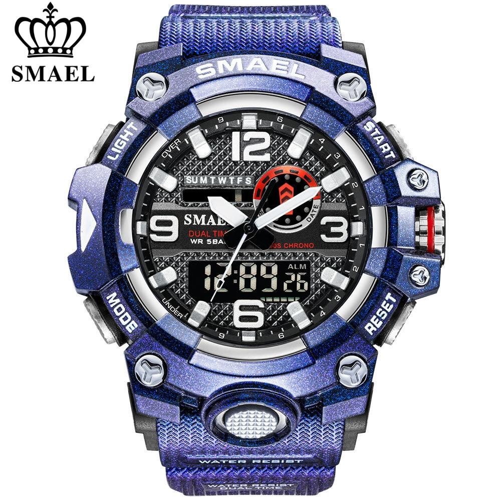 SMAEL Sport Watches for Men Luxury Purple Men Military Watches Waterproof Shock Resistant Led Display Digital Quartz Wristwatch