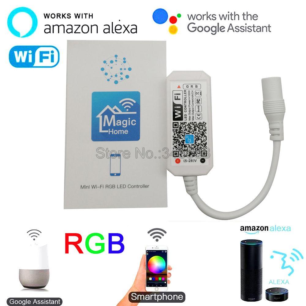 Мини WiFi контроллер Magic Home, RGB LED контроллер, управление через приложение, Alexa Google Home, голосовое управление для RGB светодиодной ленты