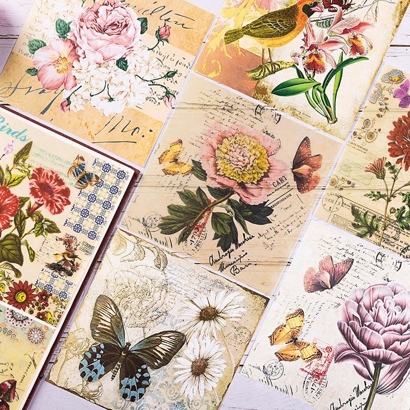 Vintage roślin kwiat i ptak serii dokument informacyjny DIY album scrapbooking śmieci dzienniku bazy dokument informacyjny s