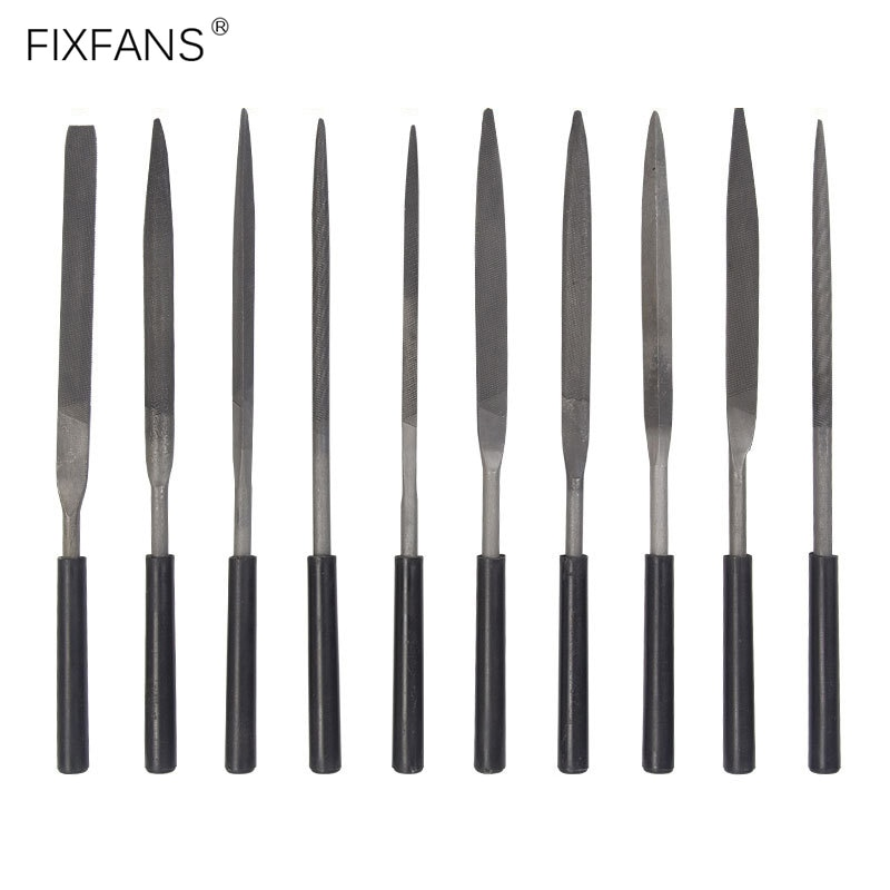 FIXFANS 10Pcs Metal Needle Files Set Repair Tool for Jewelers Diamond Glass Stone Wood Carving Craft Hand Tools, 3x140mm