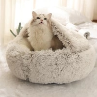 round plush cat bed warm pet dog bed 2 in cat bed house soft pet cushion sleeping sofa bed for small dogs cat nest