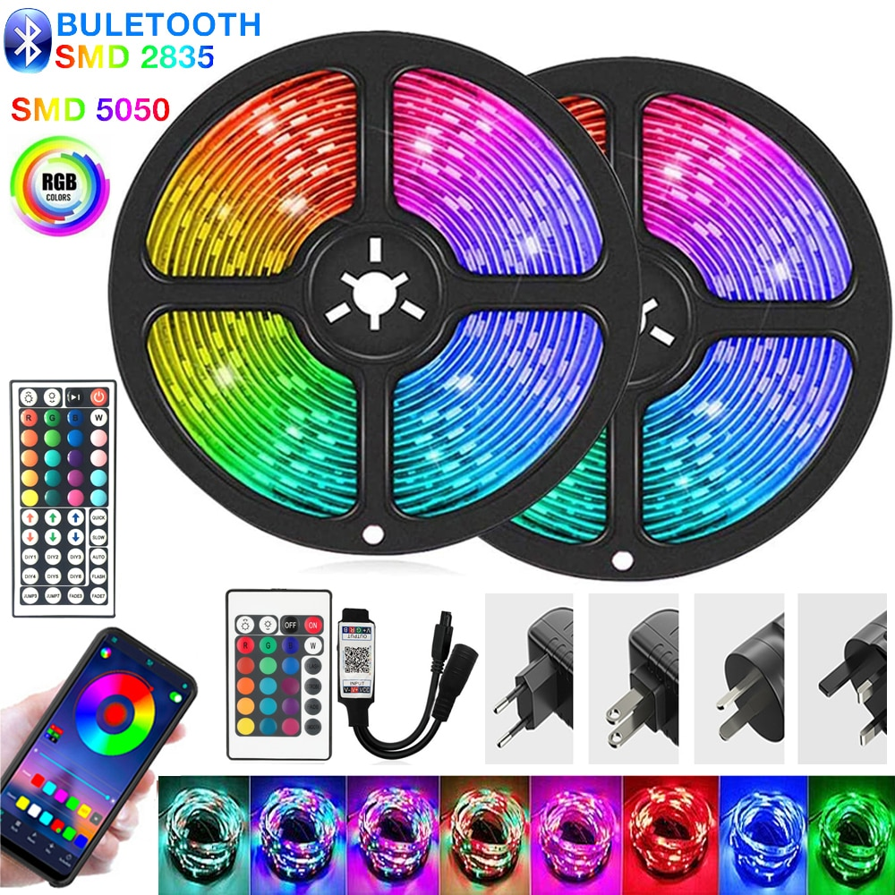LED Strips Lights Bluetooth Luces RGB 5050 2835 Flexible Ribbon Waterproof Tape Diode Light 10M 15M