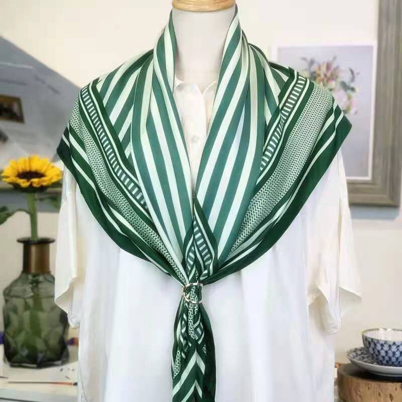 Luxury Brand Square Stripe100%Twill Scarf Women 90*90cm Head Scarfs Silk Scarves Spring Summer Shawls For Ladies Headband