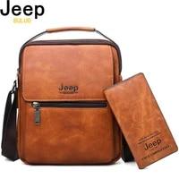 jeep buluo men leather shoulder bag 2 piece set handbags business casual messenger bag crossbody male tote bags high quality