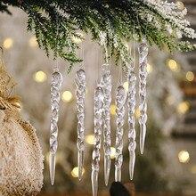3/6/12 pièces décoration de noël Simulation glace arbre de noël suspendus ornement faux glaçon accessoires décorations darbre de noël fête dhiver