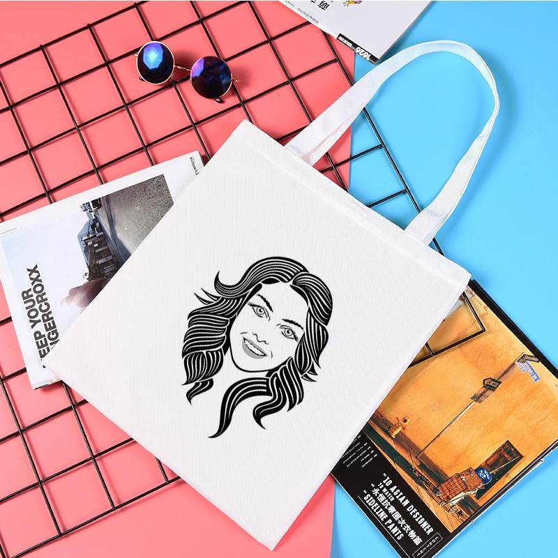 Линейная художественная сумка для лица, женские холщовые тканевые сумки для покупок, женские многоразовые дизайнерские сумки, продуктовая ...