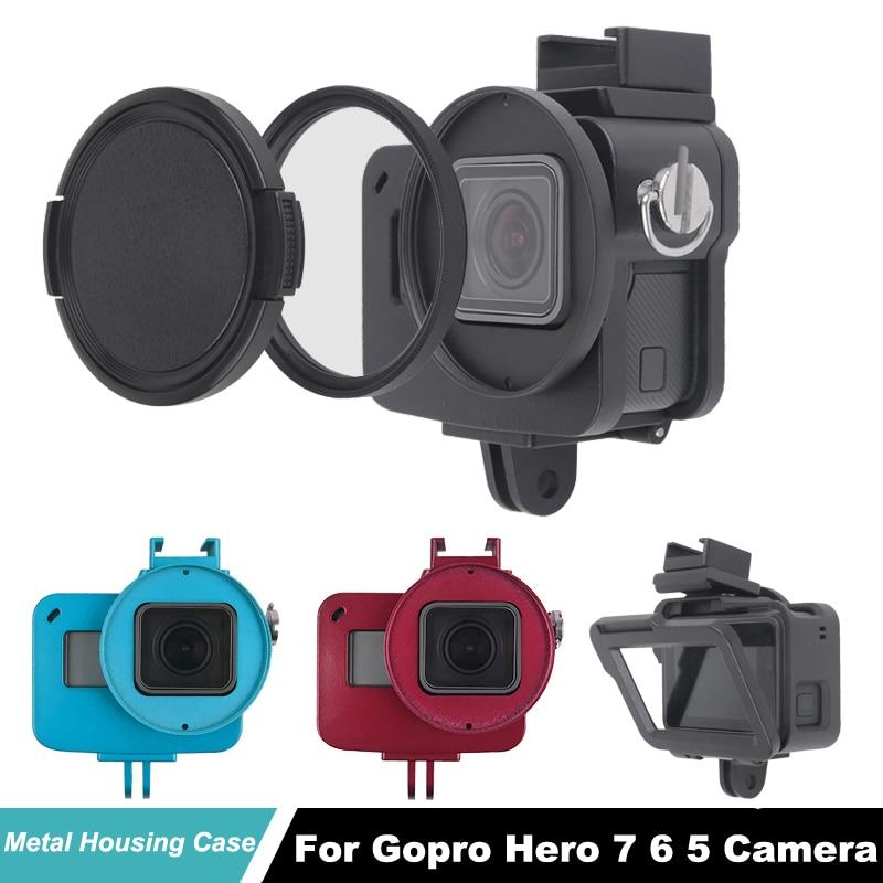 Capa protetora para gopro hero 7 6 hero5 câmera quadro de refrigeração escudo da liga alumínio go pro hero6 gaiola metal + filtro uv