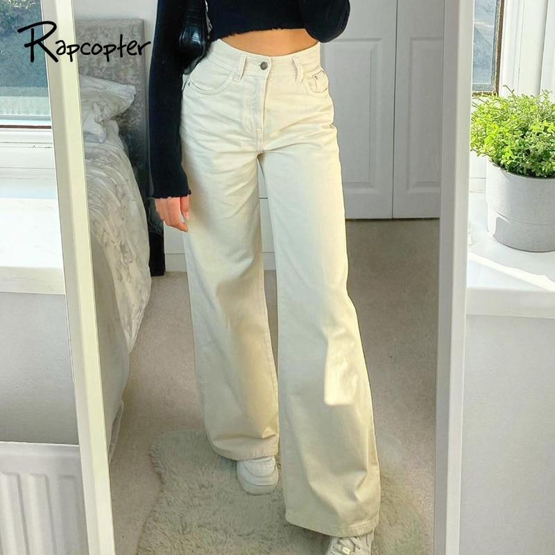 Rapcopter Wide Jeans Baggy Pockets Zipper Cargo Pants Y2K Aesthetic Deinm Pants Fahion Mom Pants Women Korean Vintage Trousers
