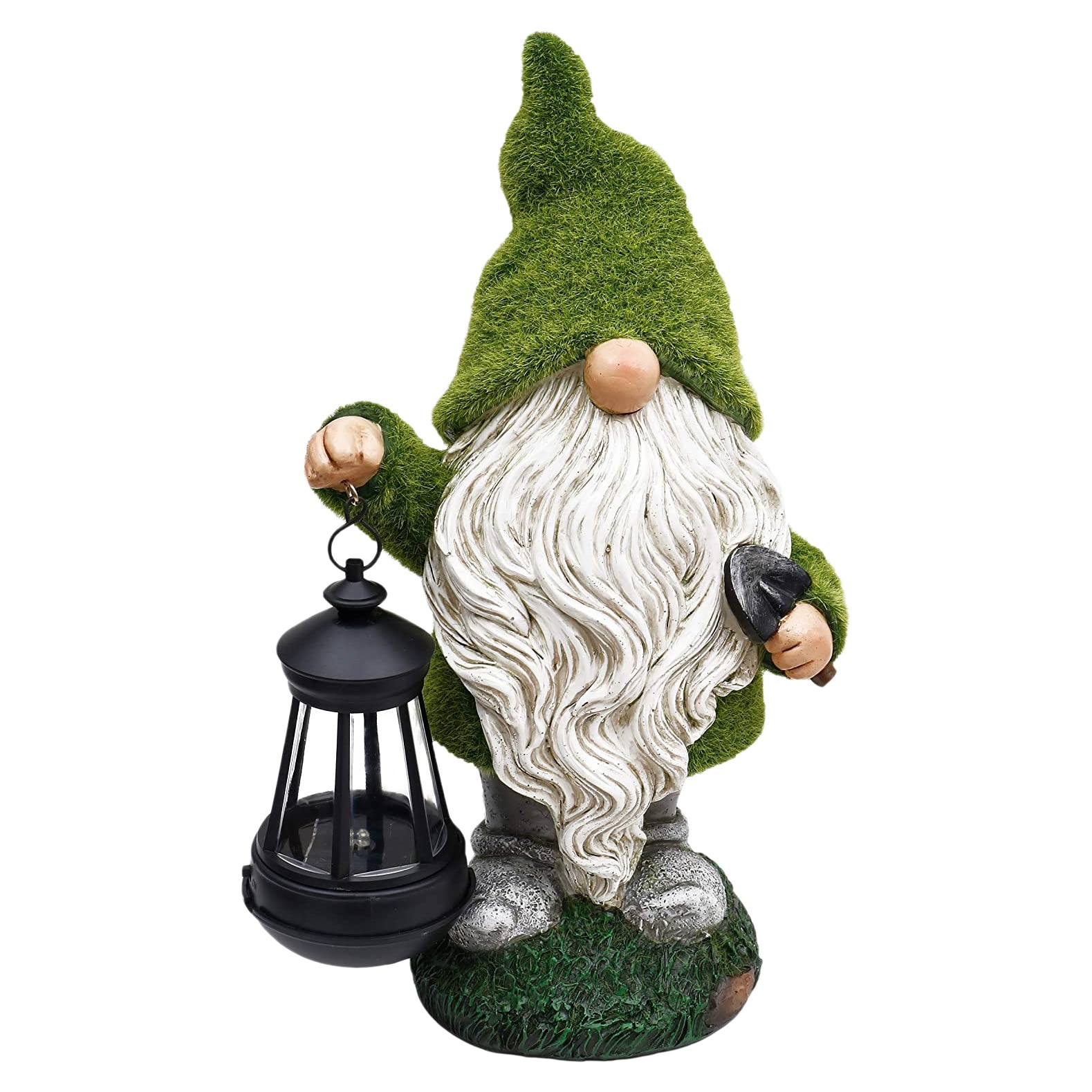 Garden Gnome Statue Holding Lantern, Large Outdoor Gnome with Solar Lights, Funny Garden Figurines for Outdoor Patio