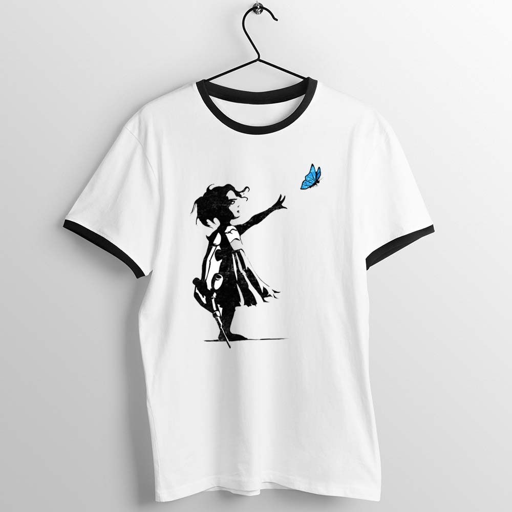 Camiseta Unisex con adornos negros para hombres y mujeres, camiseta con ilustraciones impresas de Bioshock Banksy Little Sister y The Butterfly