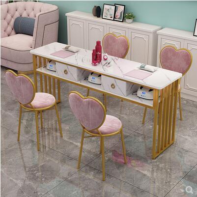 واحد مزدوج صافي طاولة مانيكير الأحمر مزدوجة بسيطة الحديثة طاولة مانيكير الاقتصاد طاولة مانيكير مجموعة مقاعد الطاولة